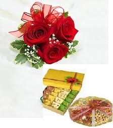 250 Grams Kaju Katli 250 Grams Dry Fruits 3 roses
