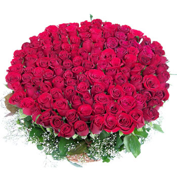 Large Basket of Red Roses