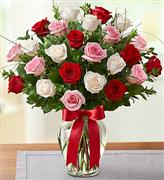 2 DOZEN Colored Roses in a Vase