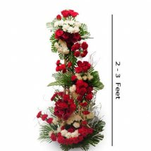 4 feet red roses and white carnations