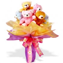 5 Teddies bouquet (6 inches each)