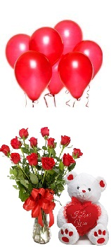 6 Red Air Balloons 10 Red Roses Vase 6 Inches Teddy