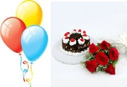 3 Air Balloons 5 Red Roses 1/2 Kg Black forest cake