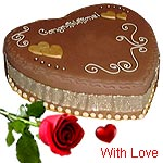 1 Kg Eggless 5-starHeart shaped Chocolate Cake with 1 red rose