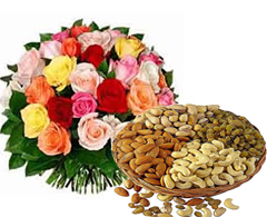 Dozen mix roses with 250 grams Dryfruits