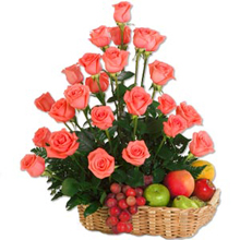 Pink Roses and Fresh Fruits