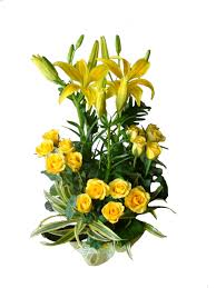 Yellow Roses+ Yellow Liliums Basket