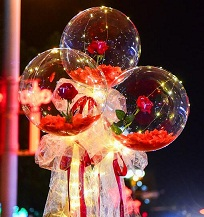 3 Red Roses rose inside 3 transparent balloon with red and White Wrapping with fairy light