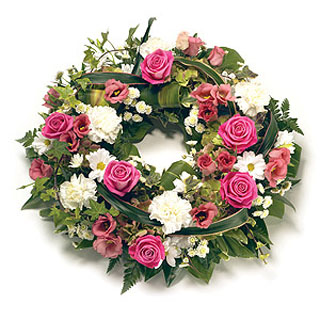 Funeral Wreath of 50 Light Colored Roses