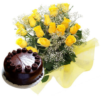 1 Kg Cake and 12 yellow roses bunch
