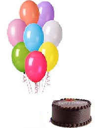 1/2 Kg Chocolate Cake with 10 Air filled balloons