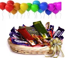 Basket of Mix Cadburys Chocolates 10 Balloons