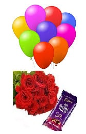 One Silk chocolates and 6 red roses 8 Blown balloons