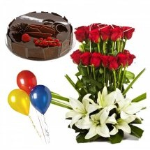 1/2 Kg Chocolate Cake 3 air filled Balloons with Red roses white lilies basket