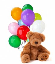 10 Air filled balloons and 12 Inches Brown Teddy