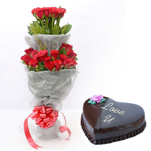 1 Kg Chocolate heart Cake and 40 red roses double bouquet