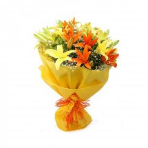 Yellow Orange Lilies bouquet with Yellow wrapping