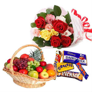 12 mix roses Fruits Basket 5 cadburys chocolates
