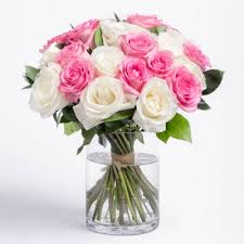Pink and white roses in Vase
