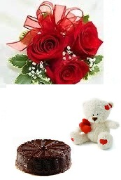 6 red roses bouquet with Teddy and 1/2 Kg black forest Cake