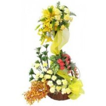20 yellow carnations 6 red carnations 6 Yellow lilies in 2 tier basket