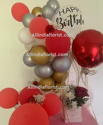 30 White Red Gold Silver Balloons Air filled with happy birthday printed balloon 12 roses