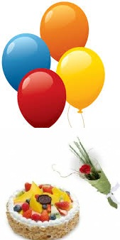 4 coloured Air Balloons 1 Red Rose 1/2 Kg Fruit Cake