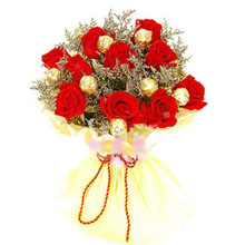10 red roses and 6 Ferrero in the same bouquet