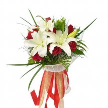 Red roses and white Lillium