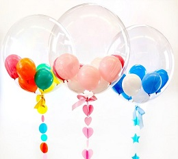 3 Transparent Bubble Balloons with blue and white inside 1st balloon Pink and red in the 2nd balloon and orange yellow inside the 3rd balloon Balloon