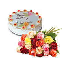 1/2 Kg Cake and 12  roses bunch