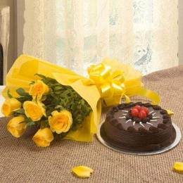 1/2 Kg Cake and 12 yellow roses bunch