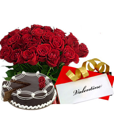 One Kg Cake +24 Red Roses Basket