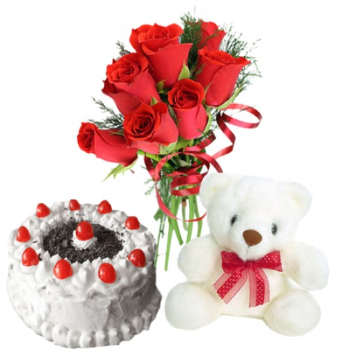 Teddy Bears (6 inches ) and 6 red Roses and Half Kg cake