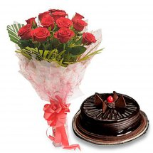 1/2 Kg Chocolate Truffle Cake with 12 Red roses bouquet