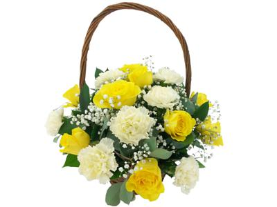 Two Dozen yellow Carnations basket