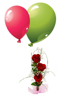 2 Air Filled Balloons with 3 Red Roses