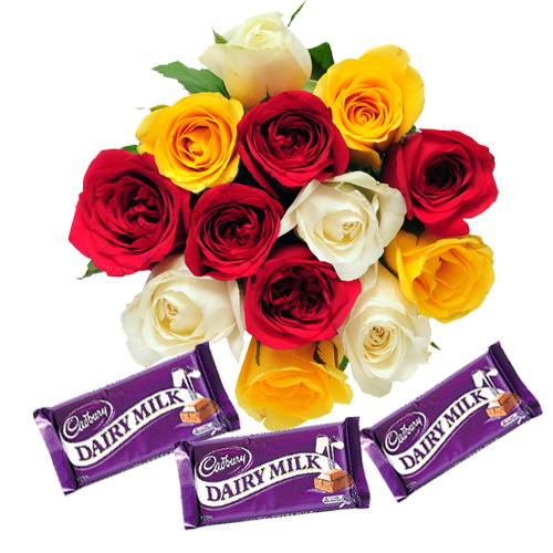 Dozen mixed roses bouquet and 3 dairy milk