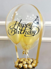 Happy Birthday Printed on Transparent Balloon stuffed with 3 balloons Tied with ribbons to a basket containing 16 Ferrero rocher chocolates