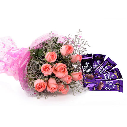 4 Cadburys Silk with 6 Red roses in a bouquet