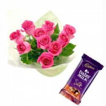 6 Pink Roses bouquet with 1 Cadburys Silk