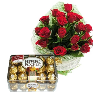 24 red roses Basket and 16 Ferrero Rocher Chocolates Box