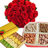 12 red roses 1/2 Kg dryfruits 1/2 Kg Mix Sweets