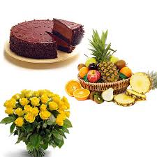 Dozen Roses with Half Kilo Chocolate Cake and Basket of Fresh Fruits