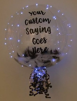 Clear Transparent balloon with led light string and your message on the balloon