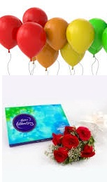 6 Air inflated Balloons Celebration Box and 5 Red Roses