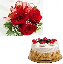 Black Forest Cake with 3 roses