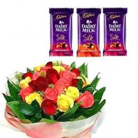 3 Silk Chocolates with a dozen assorted roses bouquet