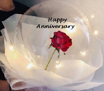 Red rose in a transparent balloon with luminous LED lights and print happy anniversary decorated with white paper