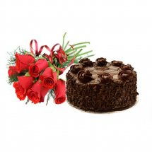 1/2 Kg chocolate Cake and 6 red roses bunch